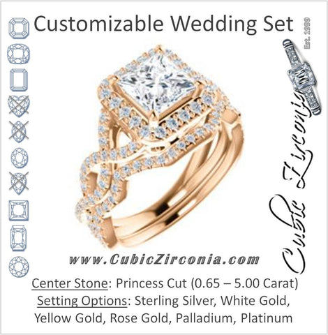 CZ Wedding Set, featuring The Benita engagement ring (Customizable Princess Cut with Infinity Split-band Pavé and Halo)