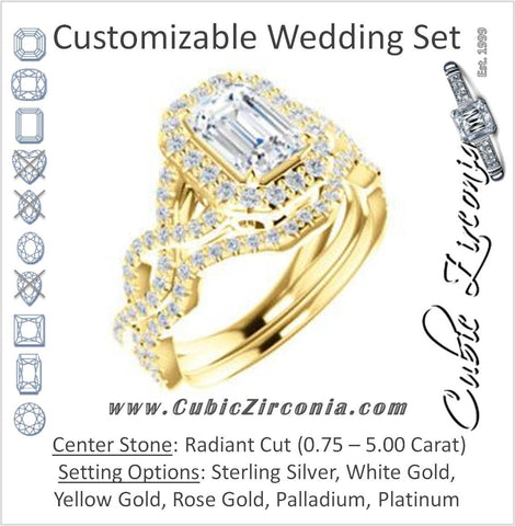 CZ Wedding Set, featuring The Benita engagement ring (Customizable Radiant Cut with Infinity Split-band Pavé and Halo)