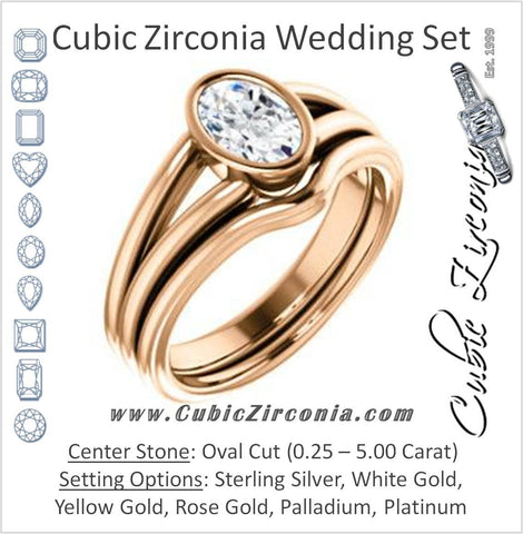 CZ Wedding Set, featuring The Bernadine engagement ring (Customizable Bezel-set Oval Cut with V-Split Band)