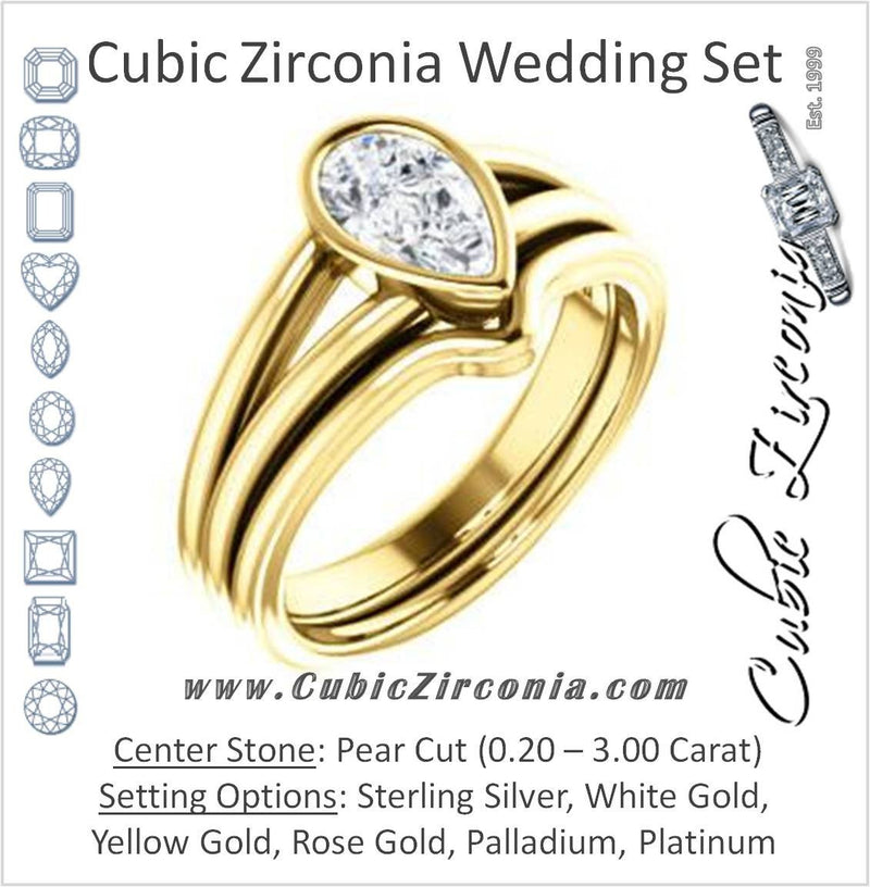 CZ Wedding Set, featuring The Bernadine engagement ring (Customizable Bezel-set Pear Cut with V-Split Band)