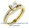 Cubic Zirconia Engagement Ring- The Blaire (Customizable Emerald Cut with Petite Pavé Band)