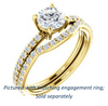 Cubic Zirconia Engagement Ring- The Blaire (Customizable Round Cut with Petite Pavé Band)