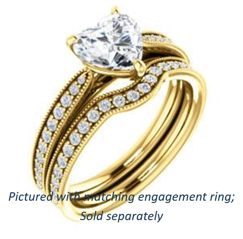 Cubic Zirconia Engagement Ring- The Brooklynn (Customizable Heart Cut with Cathedral Setting and Milgrained Pavé Band)
