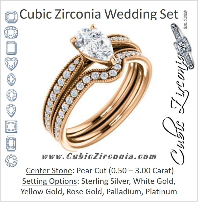 CZ Wedding Set, featuring The Brooklynn engagement ring (Customizable Pear Cut with Cathedral Setting and Milgrained Pavé Band)