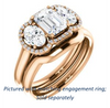 Cubic Zirconia Engagement Ring- The Carissa (Customizable Radiant Cut 3-stone Halo Style with Oval Accents)
