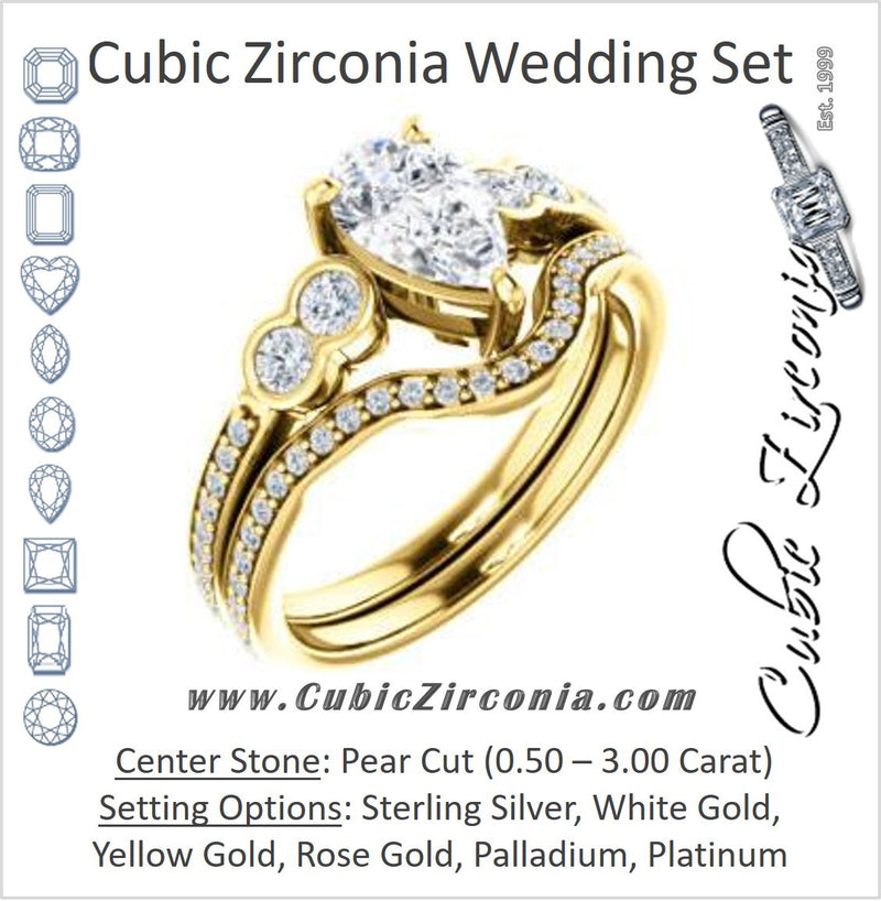 CZ Wedding Set, featuring The Eneroya engagement ring (Customizable Enhanced 5-stone Pear Cut Design with Thin Pavé Band)