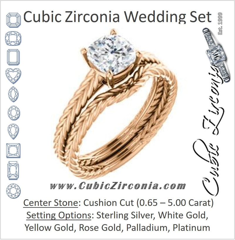 CZ Wedding Set, featuring The Florence engagement ring (Customizable Cathedral-set Cushion Cut Solitaire with Vintage Braided Metal Band)