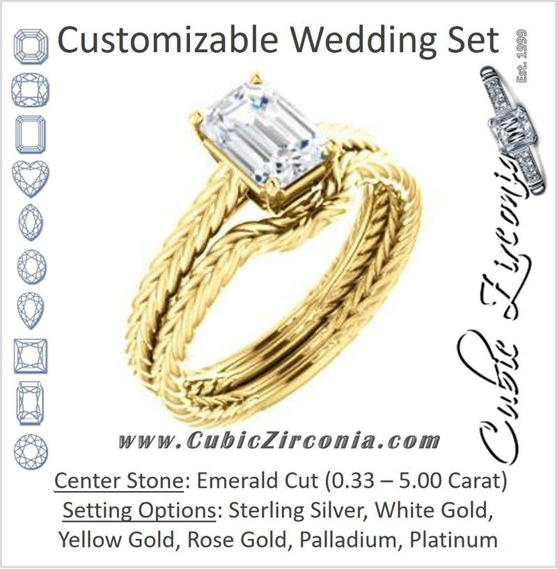 CZ Wedding Set, featuring The Florence engagement ring (Customizable Cathedral-set Emerald Cut Solitaire with Vintage Braided Metal Band)