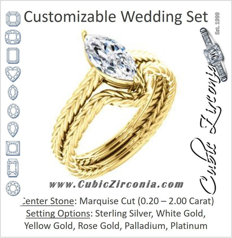 CZ Wedding Set, featuring The Florence engagement ring (Customizable Cathedral-set Marquise Cut Solitaire with Vintage Braided Metal Band)