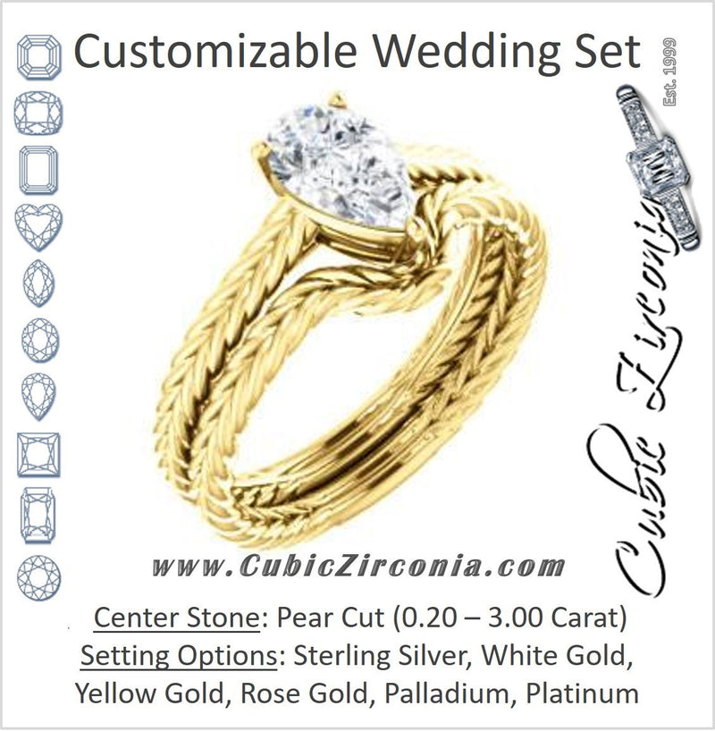 CZ Wedding Set, featuring The Florence engagement ring (Customizable Cathedral-set Pear Cut Solitaire with Vintage Braided Metal Band)