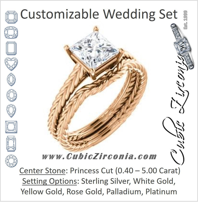 CZ Wedding Set, featuring The Florence engagement ring (Customizable Cathedral-set Princess Cut Solitaire with Vintage Braided Metal Band)