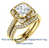 Cubic Zirconia Engagement Ring- The Ilene (Customizable Princess Cut with Segmented Bouquet Semi-Halo)