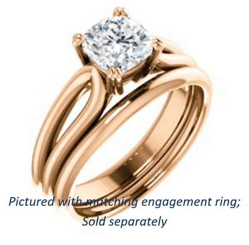 Cubic Zirconia Engagement Ring- The Jan (Customizable Cushion Cut Thick-Split Band Solitaire)