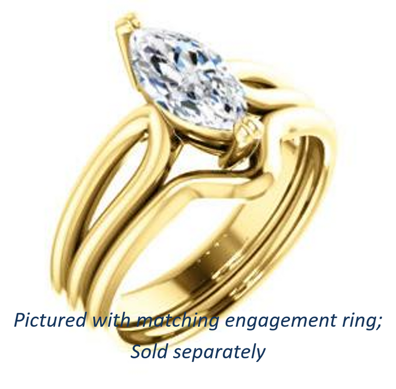 Cubic Zirconia Engagement Ring- The Jan (Customizable Marquise Cut Thick-Split Band Solitaire)