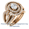Cubic Zirconia Engagement Ring- The Jill (Oval Cut Double Halo with Ultrawide Split-Pavé Band)