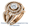 Cubic Zirconia Engagement Ring- The Jill (Round Cut Double Halo with Ultrawide Split-Pavé Band)