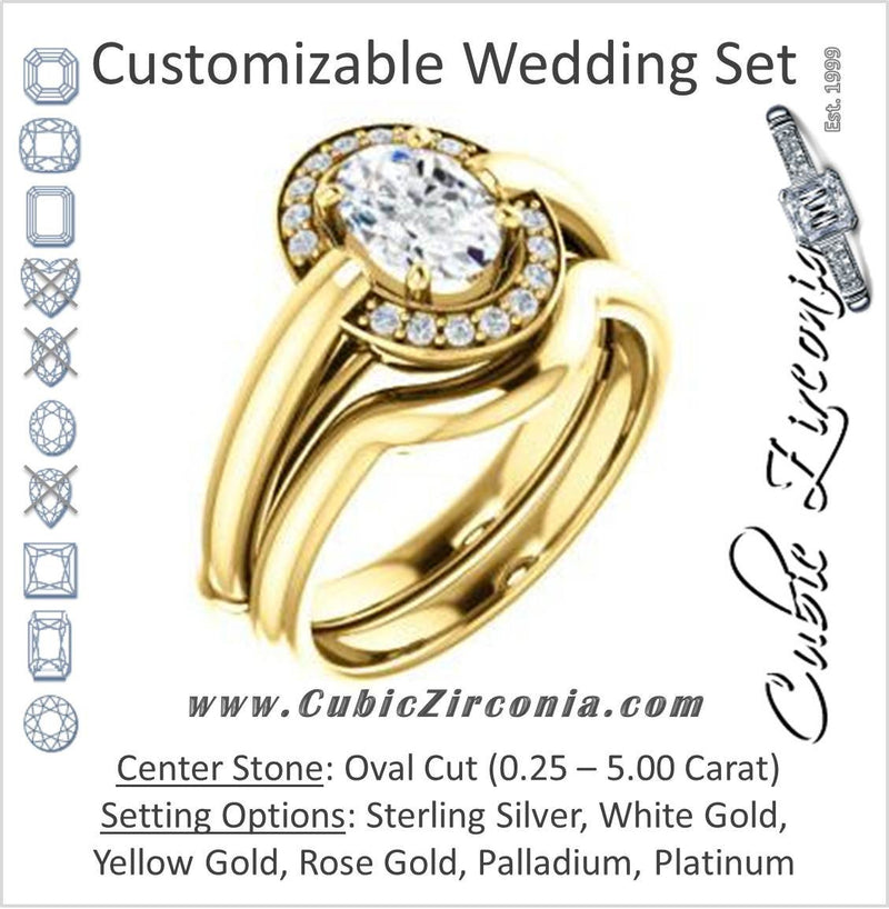 CZ Wedding Set, featuring The Kady engagement ring (Customizable Cathedral-set Oval Cut with Semi-Halo)