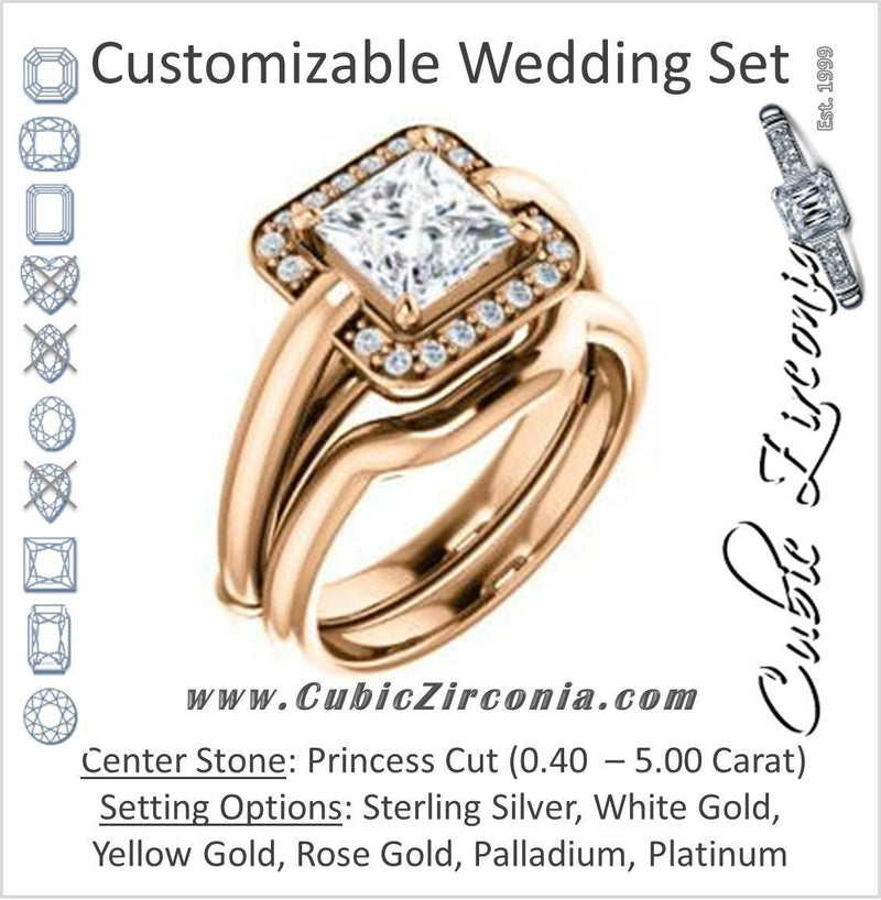 CZ Wedding Set, featuring The Kady engagement ring (Customizable Cathedral-set Princess Cut with Semi-Halo)