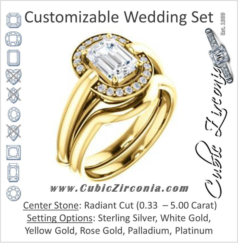 CZ Wedding Set, featuring The Kady engagement ring (Customizable Cathedral-set Radiant Cut with Semi-Halo)