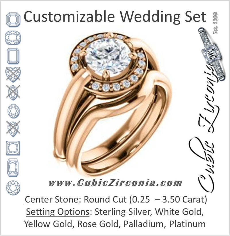 CZ Wedding Set, featuring The Kady engagement ring (Customizable Cathedral-set Round Cut with Semi-Halo)