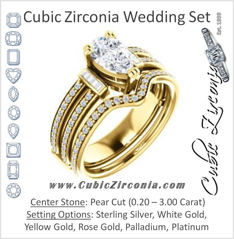 CZ Wedding Set, featuring The Kaitlyn engagement ring (Customizable Pear Cut with Flanking Baguettes And Round Channel Accents)