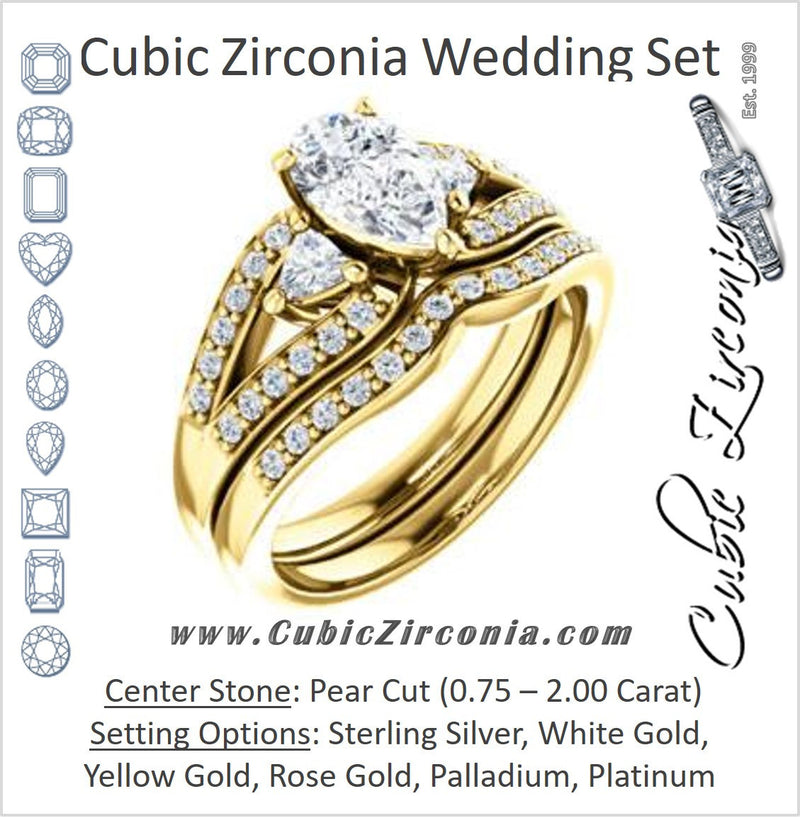 CZ Wedding Set, featuring The Karen engagement ring (Customizable Enhanced 3-stone Design with Pear Cut Center, Dual Trillion Accents and Wide Pavé-Split Band)