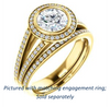 Cubic Zirconia Engagement Ring- The Kay Adaira (Customizable Bezel-set Round Cut with Halo and Split-Pavé Band)