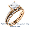 Cubic Zirconia Engagement Ring- The Kiana (Customizable Princess Cut Design with Decorative Cathedral Trellis and Thin Pavé Band)