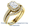 Cubic Zirconia Engagement Ring- The Kira (Customizable Cathedral-Halo Emerald Cut Design with Thin Pavé Band)