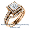 Cubic Zirconia Engagement Ring- The Kira (Customizable Cathedral-Halo Princess Cut Design with Thin Pavé Band)