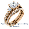 Cubic Zirconia Engagement Ring- The Kristin (Customizable Asscher Cut 3-stone Design Enhanced with Pavé Band)