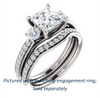 Cubic Zirconia Engagement Ring- The Kristin (Customizable Princess Cut 3-stone Design Enhanced with Pavé Band)