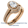 Cubic Zirconia Engagement Ring- The Laila Jean (Customizable Cathedral-set Oval Cut with Halo and Thin Pavé Band)