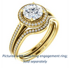 Cubic Zirconia Engagement Ring- The Laila Jean (Customizable Cathedral-set Round Cut with Halo and Thin Pavé Band)