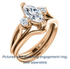 Cubic Zirconia Engagement Ring- The Libby Leigh (Customizable 3-stone Marquise Cut Design with Flanking Round Accents and Wide Curve-Split Band)