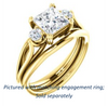 Cubic Zirconia Engagement Ring- The Libby Leigh (Customizable 3-stone Princess Cut Design with Flanking Round Accents and Wide Curve-Split Band)