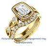 Cubic Zirconia Engagement Ring- The Lois Belle (Customizable Emerald Cut Halo-Style with Twisting Filigreed Infinity Split-Band)