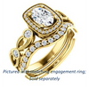 Cubic Zirconia Engagement Ring- The Lois Belle (Customizable Oval Cut Halo-Style with Twisting Filigreed Infinity Split-Band)