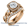 Cubic Zirconia Engagement Ring- The Lois Belle (Customizable Round Cut Halo-Style with Twisting Filigreed Infinity Split-Band)
