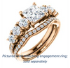 Cubic Zirconia Engagement Ring- The Lorelei (Customizable Enhanced 7-stone Princess Cut Style with Pavé Band)