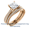 Cubic Zirconia Engagement Ring- The Luci Swan (Customizable Decorative-Pronged Princess Cut with Pavé Band)