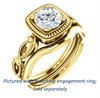 Cubic Zirconia Engagement Ring- The Lucille May (Customizable Round Cut Solitaire featuring Filigree Faux Halo and Infinity Split Band)