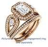 Cubic Zirconia Engagement Ring- The Luz Marie (Customizable Halo-style Emerald Cut with Split-Pavé Band & Pear Accents)