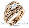 Cubic Zirconia Engagement Ring- The Magdalena Oha (Customizable Bezel-set Emerald Cut Style with Wide Tri-split Pavé Band)