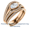 Cubic Zirconia Engagement Ring- The Magdalena Oha (Customizable Bezel-set Oval Cut Style with Wide Tri-split Pavé Band)