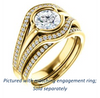 Cubic Zirconia Engagement Ring- The Magdalena Oha (Customizable Bezel-set Round Cut Style with Wide Tri-split Pavé Band)
