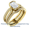 Cubic Zirconia Engagement Ring- The Mariela (Customizable Cathedral-Bezel Emerald Cut Style with Wide Straight Split-Pavé Band)