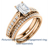 Cubic Zirconia Engagement Ring- The Martha (Customizable Radiant Cut Setting with Pavé Three-sided Band and Peekaboos)