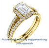 Cubic Zirconia Engagement Ring- The Monique (Customizable Emerald Cut Cathedral-Halo with Thin Pave-Band)