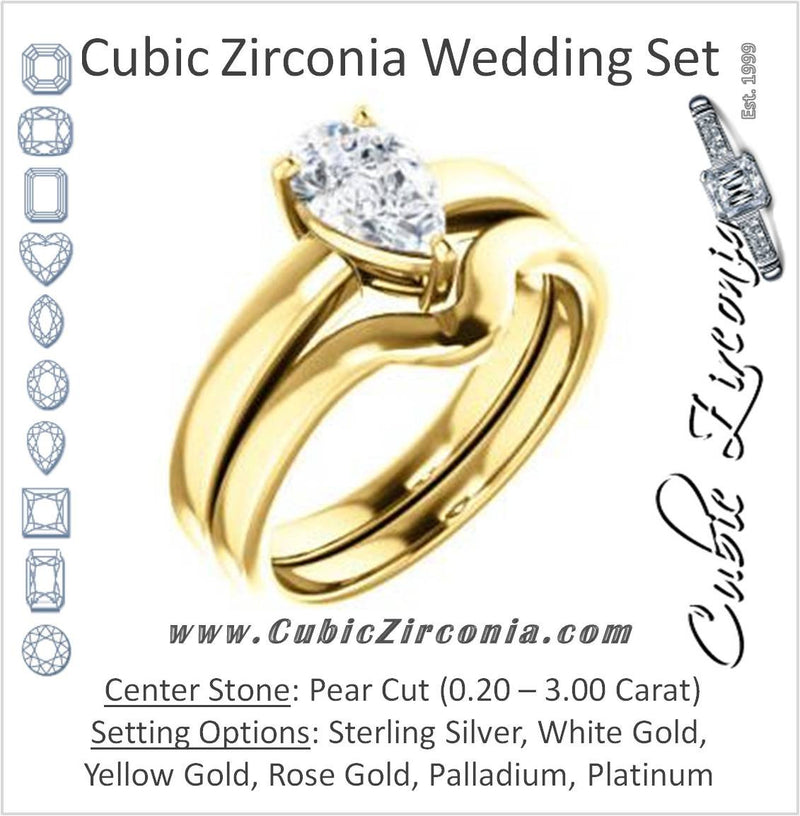 CZ Wedding Set, featuring The Myaka engagement ring (Customizable Pear Cut Solitaire with Medium Band)
